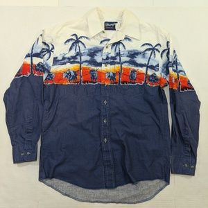 Wrangler Western Shirt with Bulls and Palm Trees